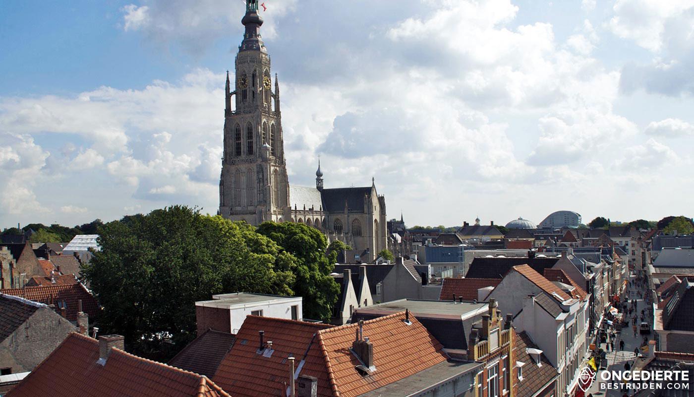 Stadzicht Breda met uitzicht op Kerktoren en huizen in het centrum