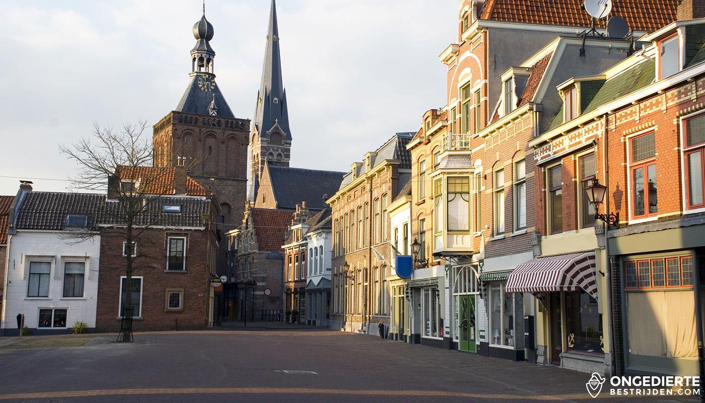 Plein in Culemborg met winkels en woonhuizen