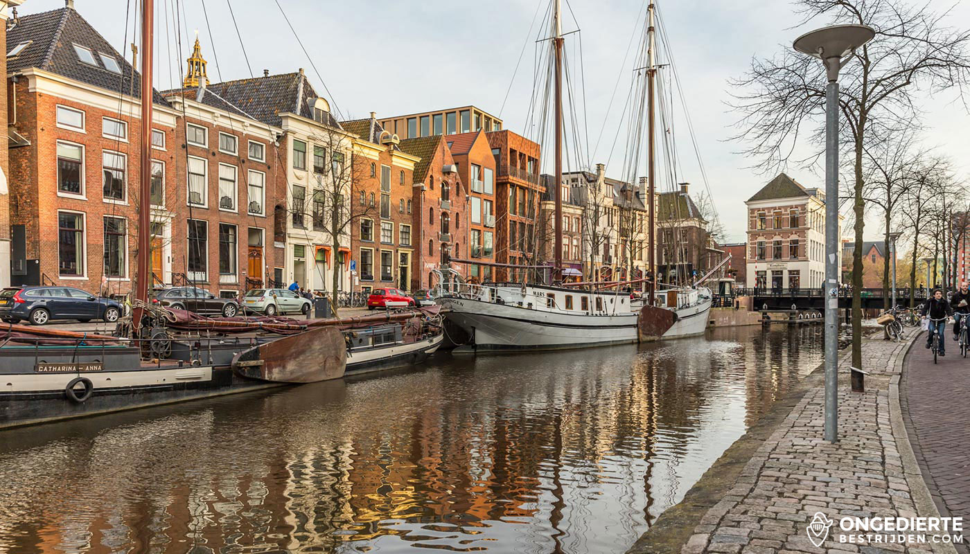 Binnenstad van Groningen met huizen aan de achterzijde