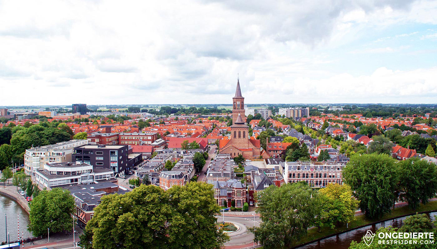 Uitzicht op huizen in de binnenstad van Leeuwarden