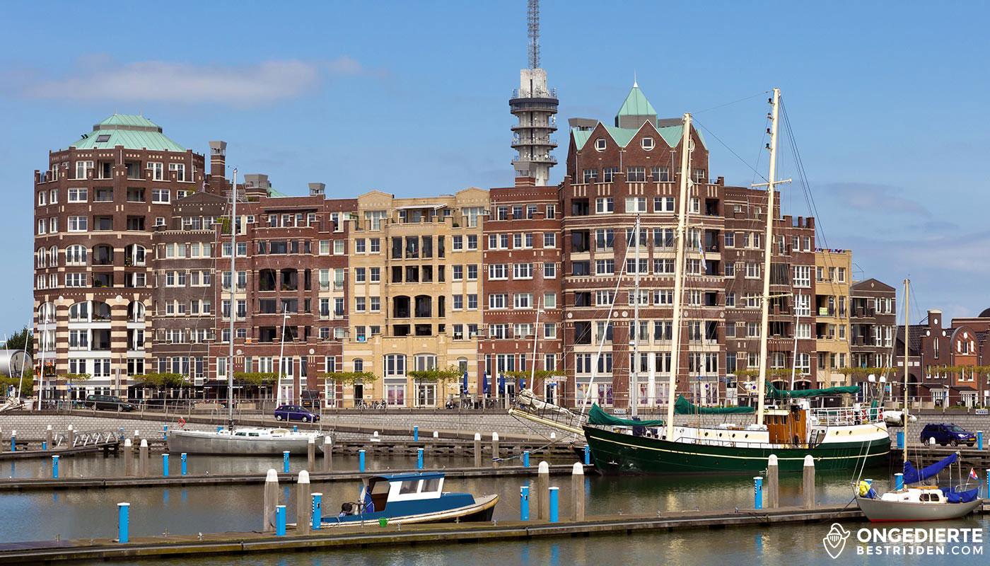 Skyline met woonhuizen in Lelystad