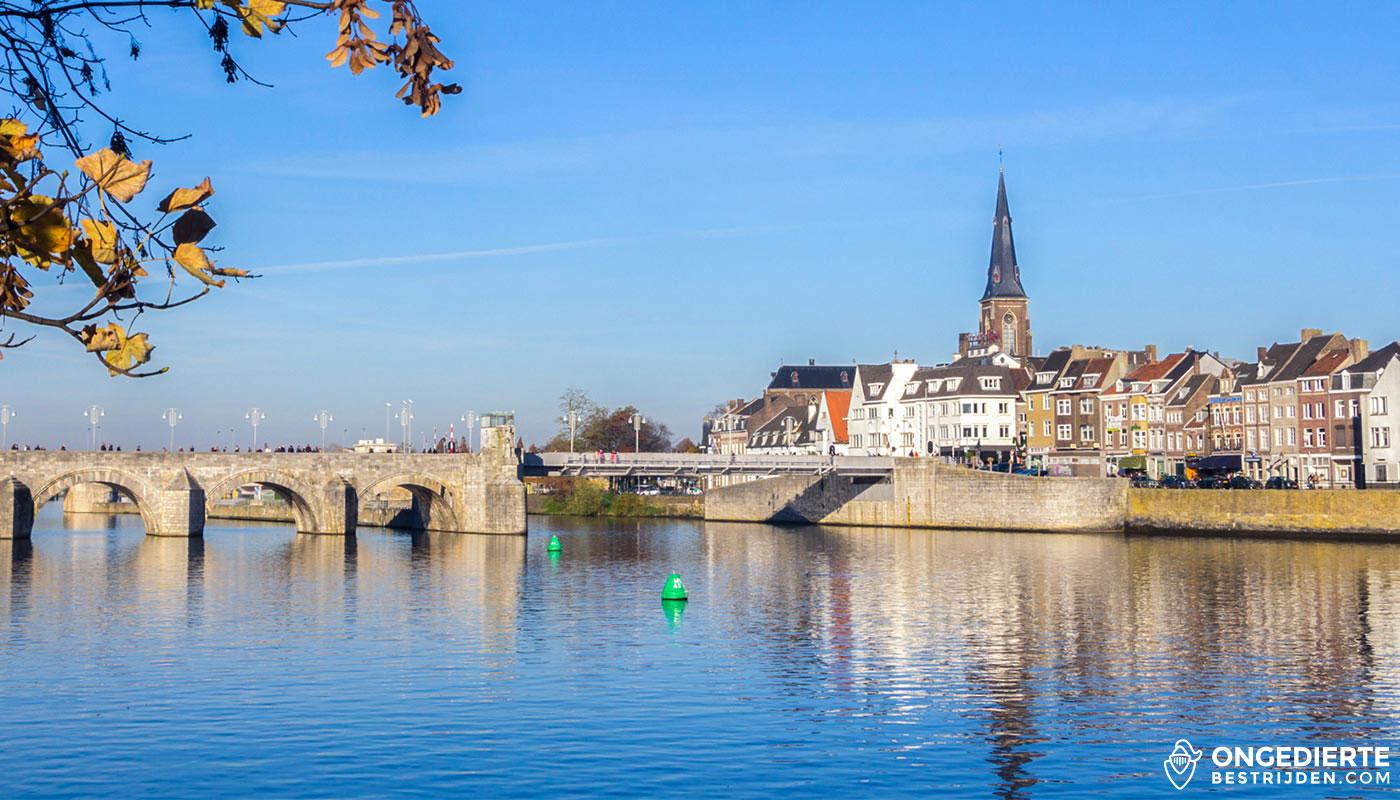 Huizen met kerktoren op achtergrond in Maastricht