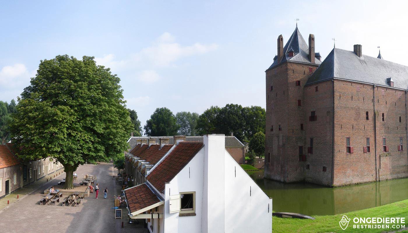 Uitzicht op huis en kasteel Loevestein in Zaltbommel